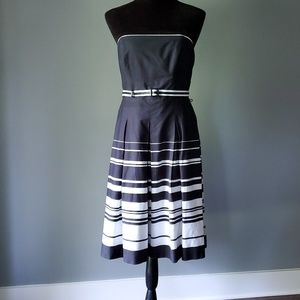 WHBM black & white striped strapless dress